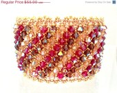 BLACK FRIDAY SALE Cystal Bead Netted Bracelet in Light Colorado Topaz, Ruby and Smoked Topaz