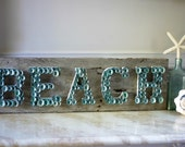 Beach Limpet Shell Sign -  Recycled Weathered Dock Board - Reclaimed Wood