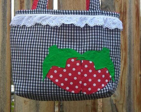 Black Gingham Country strawberry tote handbag