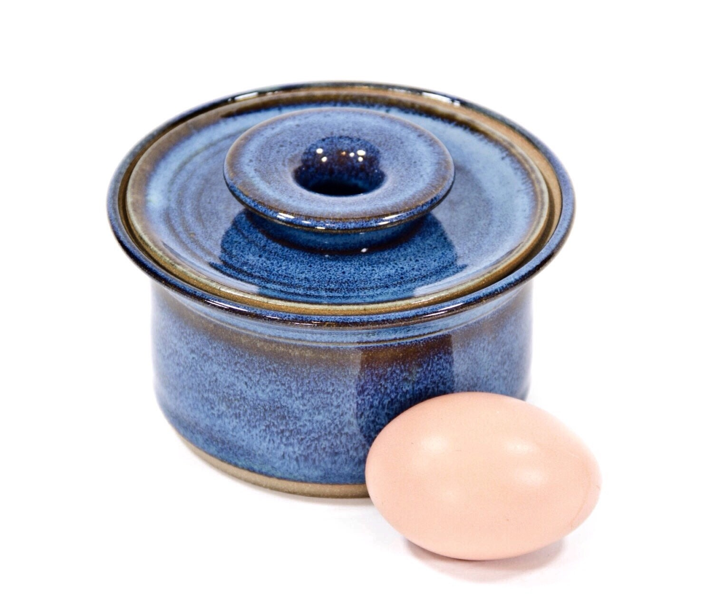 Microwave Egg Cooker In Celestial Blue Glaze Ceramic Egg