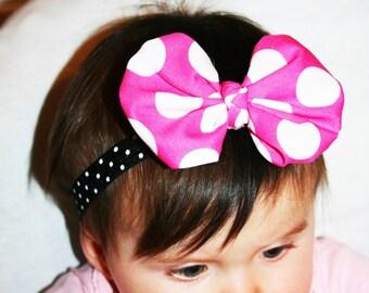 Pink  Polka dot  baby Headband, Baby headband,  Minnie mouse Headband, Pink  headband,  Baby  Headband, Cotton Headband, Girls   Headband.