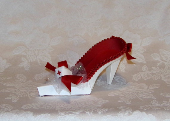 "Couture Collection  ""Nurse""  High Heel 3D Paper Shoe Original Design"