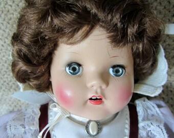 Horsman 20 inch Mama baby doll hard plastic head, vinyl limbs, cloth body 1950s