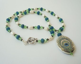 Peacock Feather Necklace Porcelain Focal Beaded Statement Jewelry with Swarovski Crystal Elements