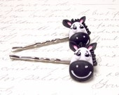 Set of 2 Zebra Bobby Pins. Wild Animal Safari Hair Pins. Black and White Zebra Hair Clips.