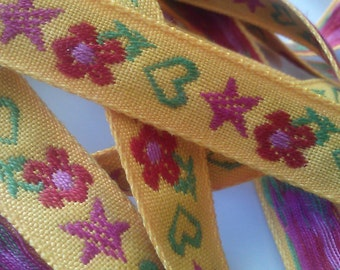 5 Yards Bright Yellow Jacquard Ribbon with  Flower, Star and Heart Detail Sewing Trim