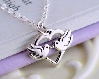 Lovebirds Valentine Necklace, Sterling Silver, Child Teen Women, Valentines Day, Romantic, Birthstone Jewelry
