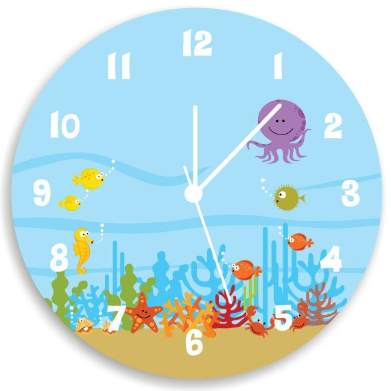 Like this item. Kids Wall Clock Ocean theme Children Room Decor Life Under