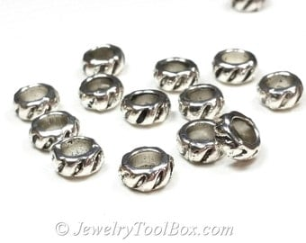 Rondelle Beads, Silver Pewter Spacers, 4x8mm, 5mm hole, Antique Silver Finish, Lead Free, Lot Size 20 to 50,  #1228 BH