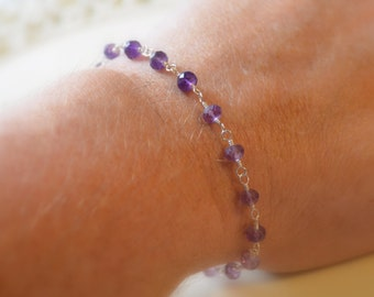 Real Amethyst Bracelet, Sterling Silver, Shaded Ombre Purple, Genuine Gemstone Jewelry, Flower Charm, February Birthstone, Free Shipping