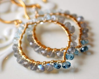 Gemstone Earrings, Labradorite London Blue Topaz, Wire Wrapped, December Birthstone, Gold Vermeil Jewelry, Free Shipping