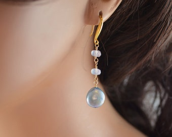 Powder Blue Earrings, Natural Chalcedony Gemstone, Genuine Freshwater Coin Pearls, Dangle, Wire Wrapped, Gold Jewelry, Free Shipping
