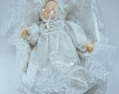 vintage 1989 ARTMARK Musical Porcelain Doll w/ Cradle, Baby Moves, Brahms Lullaby