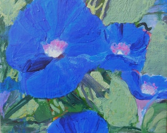 Original painting Morning Glory acrylic 6 x 6 canvas stretched over wood frame, ready to hang, painted over the edge, blue 4 oclocks