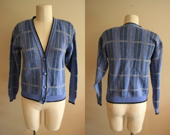 Vintage Plaid Pendleton Wool Cardigan Sweater- Size Small - Classic - American - USA