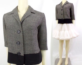 Vintage 1950s Martha Weathered boxy cropped jacket Blazer Wool woven black grey colorblock three quarter sleeves button up suit