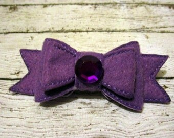 Felt Bow, Hair Bow, Felt Hair Bow, Purple Hair Bow, Purple Felt Bow, Double Layer Bow, Machine Stitched Bow, Girls Bow, Bow, Birthday Bow