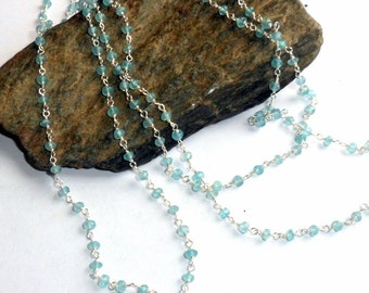 Blue Topaz Rosary Three Way Necklace Sterling Silver Adjustable earthegy