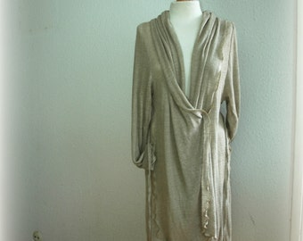Natural Gray Cardigan With Linen Knitted Eco Friendly Every Day Sweater Wrap Clothing Natural
