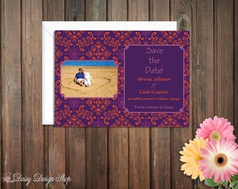 Save the Date Card - Vintage Indian Style Damask in Purple and Orange