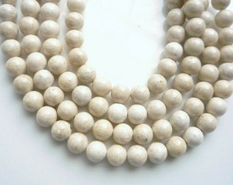 8mm   River stone, creamy white  round beads Full strand