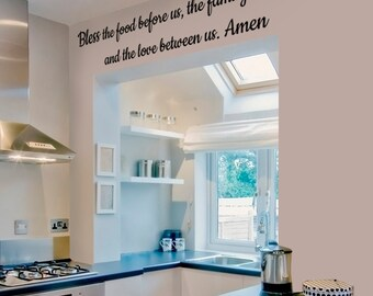 Bless The Food Before Us Words Wall Sticker Kitchen