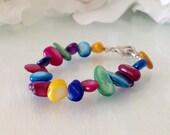 Medical Alert Bracelet Brite Color Mother of Pearl stones