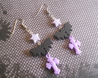 Bat earrings with stars and crosses creepy lolita fairy kei pastel goth