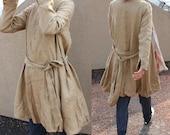 Flower Bud Linen Long Coat with Belt/ 10 COLORS/ RAMIES