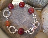 Dark Red Agate and Silver Non Tarnish Argentium Wire Wrapped Bracelet