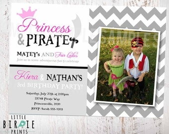 PRINCESS and PIRATE INVITATION - Twins or Dual Boy Girl Birthday Party - Chevron  - Photograph Photo - Pink Grey Black