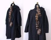 1980s Avant Garde Cocoon Coat / 80s Gray Raccoon Tail Cape Cloak