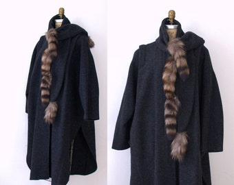 1980s Avant Garde Cocoon Coat / 80s Gray Raccoon Tail Cape Cloak