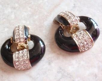 Black Doorknocker Earrings Pave Rhinestone Enamel Gold Tone Clip On Vintage 061914MV