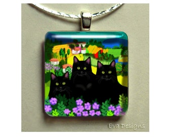 BLACK CATS village necklace jewelry art gift pet 1 inch glass tile pendant with chain