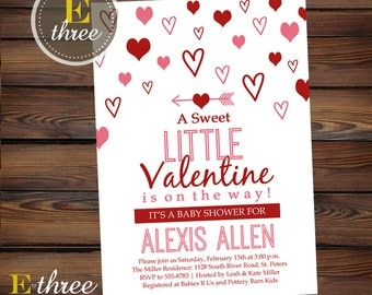 Valentines Baby Shower Invitation - Pink and Red Girl's Shower Invitation - Hearts - Littel Valentine Shower