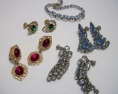 Collection of rhinestone vintage earrings and bracelet