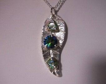 Spring Leaf Gemstone Pendant