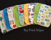 Cloth Baby Wipes, Family Cloth, Reusable Wipes, Assorted Boy Prints, Pack of 50 Cloth Wipes