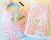 Monogrammed Bib and Burp Cloth set - Paisley Pink and Green - Etsykids Team - Personalized Bib - Baby Shower Gift
