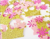 Princess Party Confetti, Pink And Gold, Glitter Tiara Crowns, Mini Bows, Flowers, Girls Birthday Supply, Baby Shower Decorations, 250 Pieces
