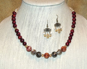Natural Pearl and Shell Necklace and Earrings - red ivory brown bead free spirit indie jewelry