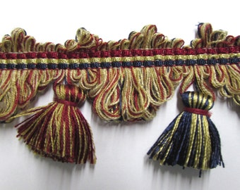 TASSEL FRINGE Scalloped burgundy/red navy tan/gold