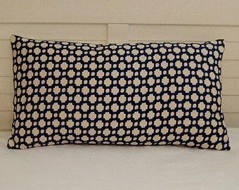 Schumacher Betwixt in Indigo and Ivory Designer Lumbar Pillow Cover