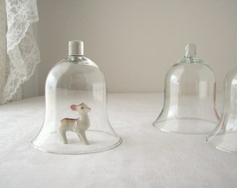 small glass domes, bell jar, cloche, vintage display, set of three