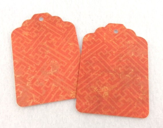 18 red and gold weave print asian inspired gift tags for Japanese inspired gifts
