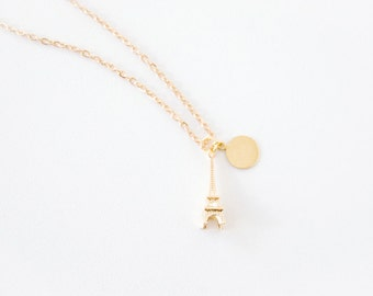OUI - Mini Eiffel Tower Charm Necklace - Romantic / Lover / BFF / Birthday / Customized / Personalized / Bridal Party / Bridesmaid Gift