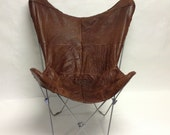 Handmade Distressed Soft Leather Butterfly chair