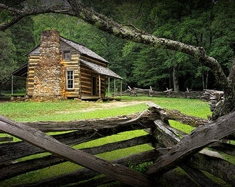 Oliver's Log Cabin in Cade's Cove in the Great Smoky Mountains No.122214 - An Appalachian Pioneer Landscape Photograph