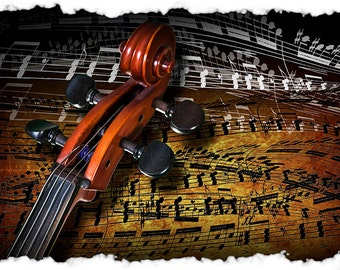 Music Art of a Cello Scroll Acoustic Stringed Musical Instrument with Musical notes No.745 - A Fine Art Classical Music Photograph